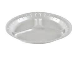 Deluxe White Foam Round Three Compartment Plate