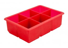 Ice Cube Mould 6 Section Silicone Red