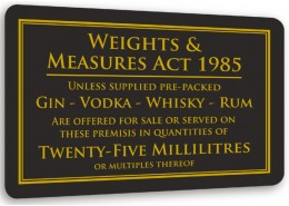 Weights & Measures Act 25ml Sign