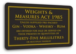 Weights & Measures Act 35ml Sign