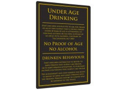 Under Age Drinking Sign Gold or Black