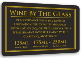 Wine By the Glass 125ml, 175ml &250ml Sign