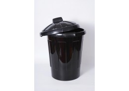 Black Dustbin Shiny & Grooved 80 Litre