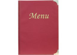 Menu Holder A4 Wine Red 8 Pages