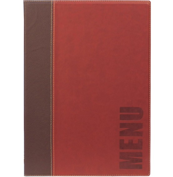 Contemporary A4 Menu Holder Wine Red 4 Pages