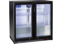 Double Hinged Door Bottle Cooler Black Finish