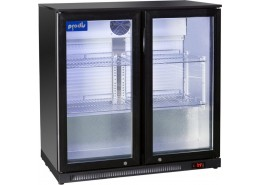 Double Hinged Door Low Profile Bottle Cooler Black Finish