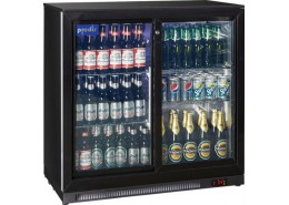 Double Sliding Door Bottle Cooler Black Finish
