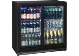 Double Sliding Door Low Profile Bottle Cooler Black Finish