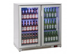 Double Hinged Door Bottle Cooler Silver Finish
