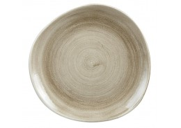 Patina Antique Taupe Organic Round Plate
