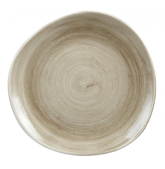 Patina Antique Taupe Organic Round Plate
