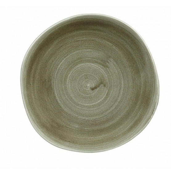Patina Burnished Green Organic Round Plate