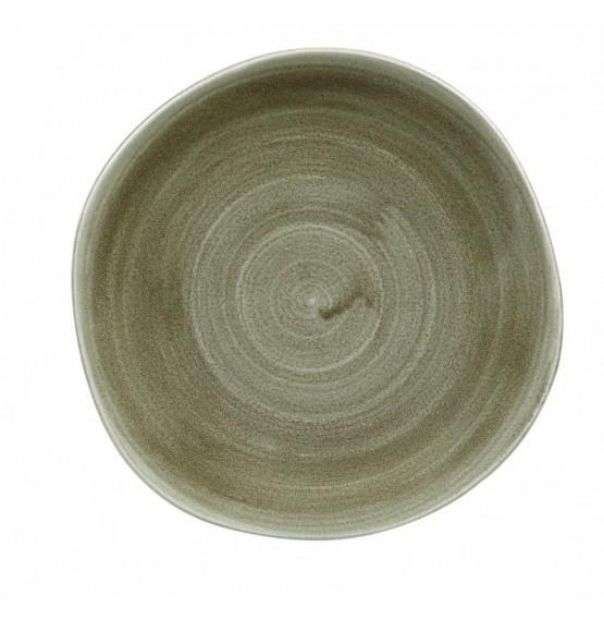Patina Burnished Green Organic Round Plate