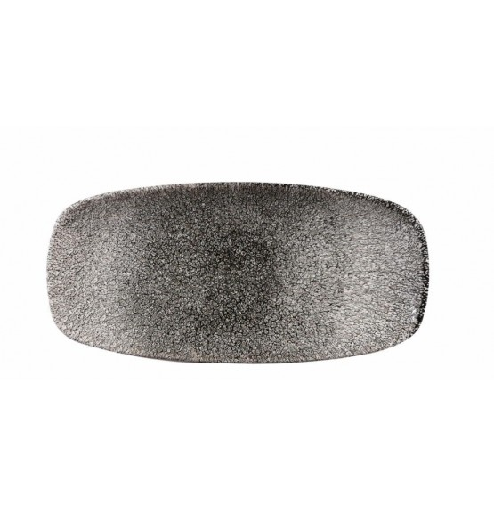 Raku Quartz Black Chefs' Oblong Plate