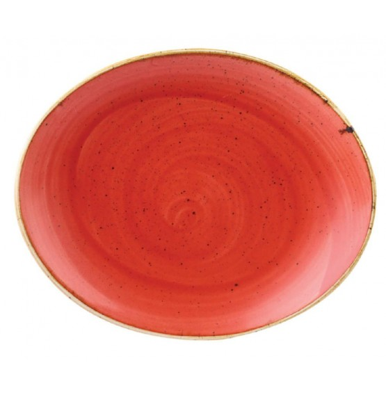 Stonecast Berry Red Oval Coupe Plate