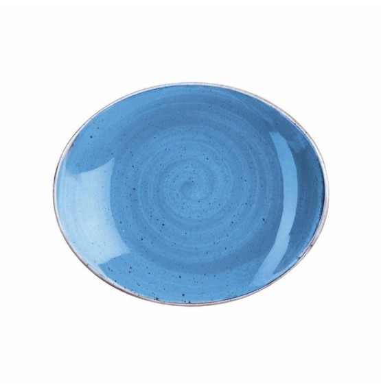 Stonecast Cornflower Blue Oval Coupe Plate