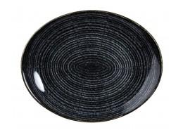 Homespun Charcoal Black Oval Coupe Plate