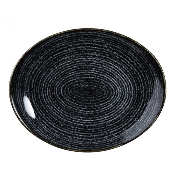 Homespun Charcoal Black Oval Coupe Plate