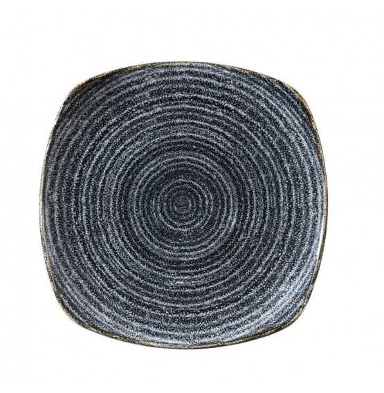 Homespun  Charcoal Black Square Plate