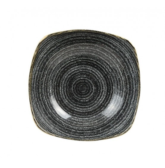 Homespun Charcoal Black Square Bowl