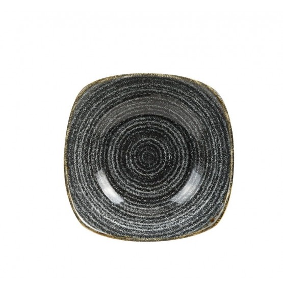Homespun Charcoal Black Square Bowl