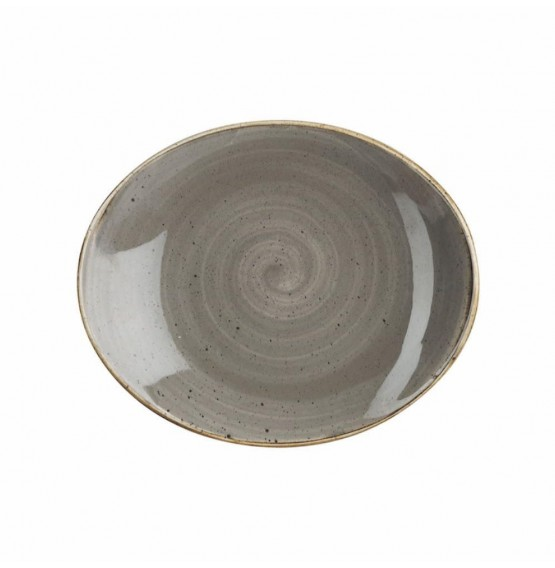 Stonecast Peppercorn Grey Oval Coupe Plate