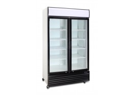 Double Hinged Door Display Cooler With Merchandising Canopy