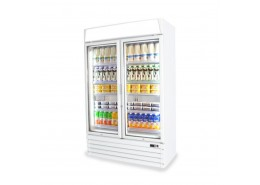 Double Door Display Cooler With Merchandising Canopy - Matching Freezer Available