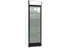 Single Door Display Cooler White Finish With Merchandising Canopy
