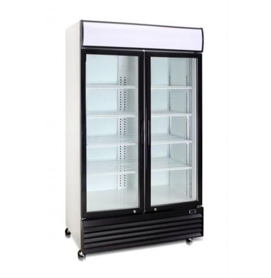 Double Hinged Door Display Cooler With Merchandising Canopy